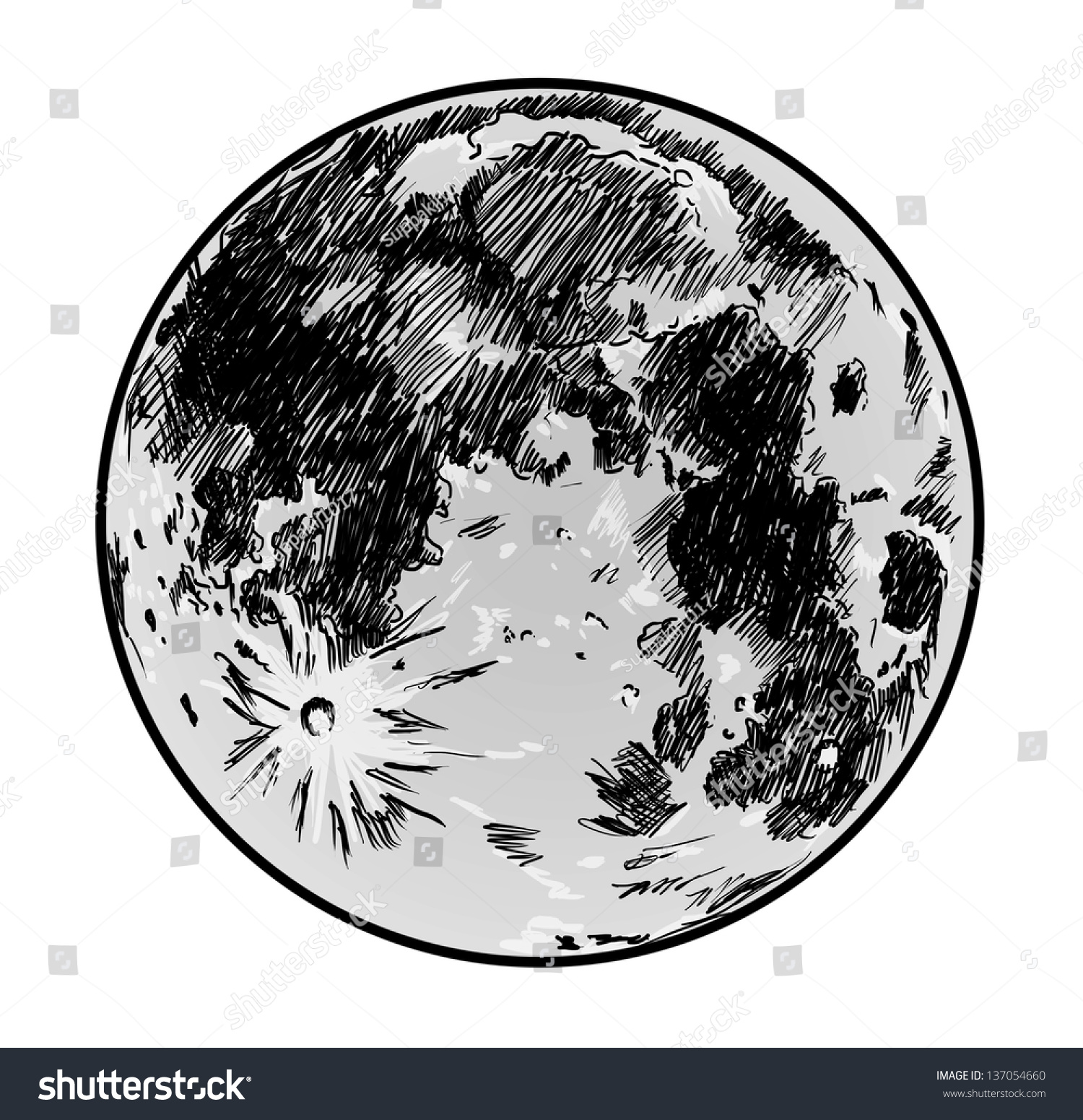 Full Moon Drawing Black And White Moon Drawing On White Background Stock Illustration