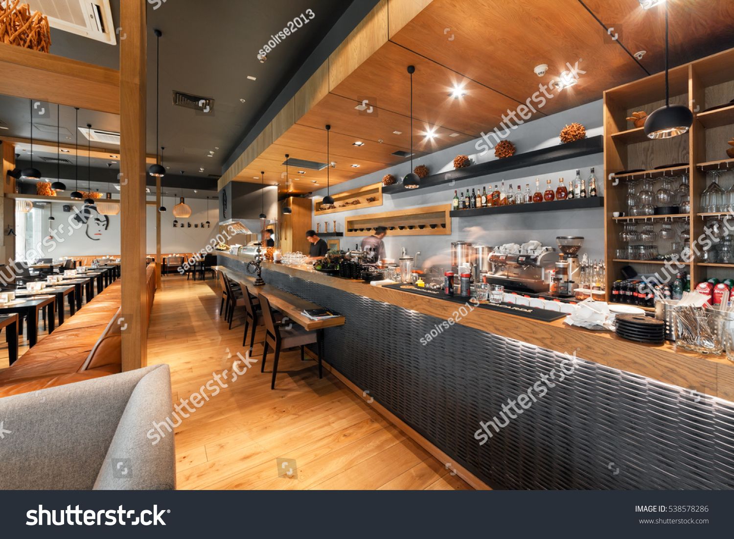 Restaurant Oriental Montpellier Moscow August 2014 Interior Japanese Restaurant Stock Photo Edit