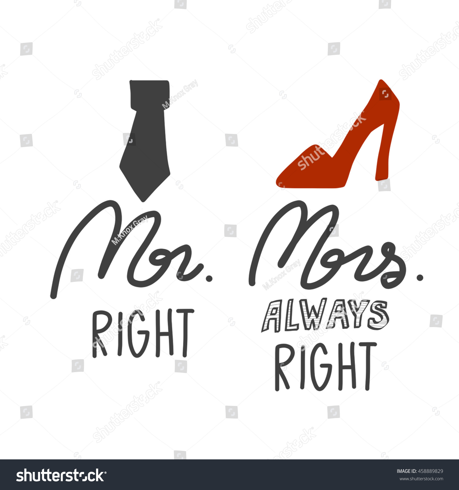 Mr Right Mrs Always Right Bettwäsche Mr Right Mrs Always Right Illustration Stock Illustration