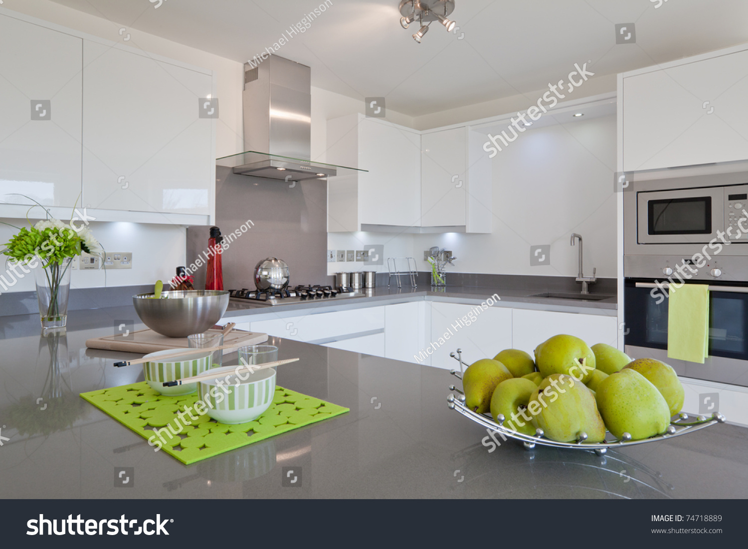 Modern Kitchen Appliances Newly Fitted Modern Kitchen Built Appliances Stock Photo Edit Now