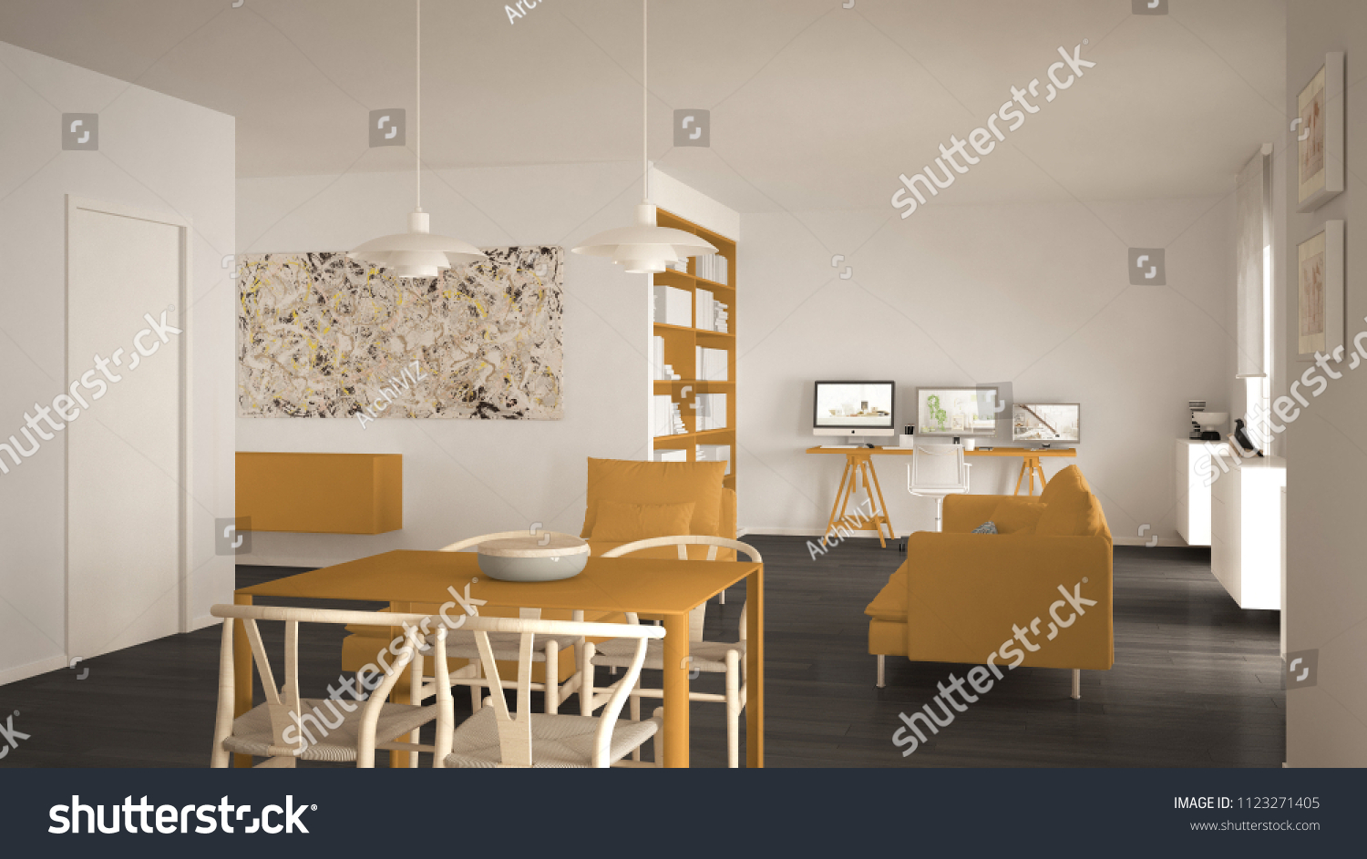 Minimalist Living Space Nordic Minimalist Living Room Open Space Stock Illustration
