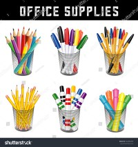 Office Supplies Writing Drawing Tools Desk Stock ...