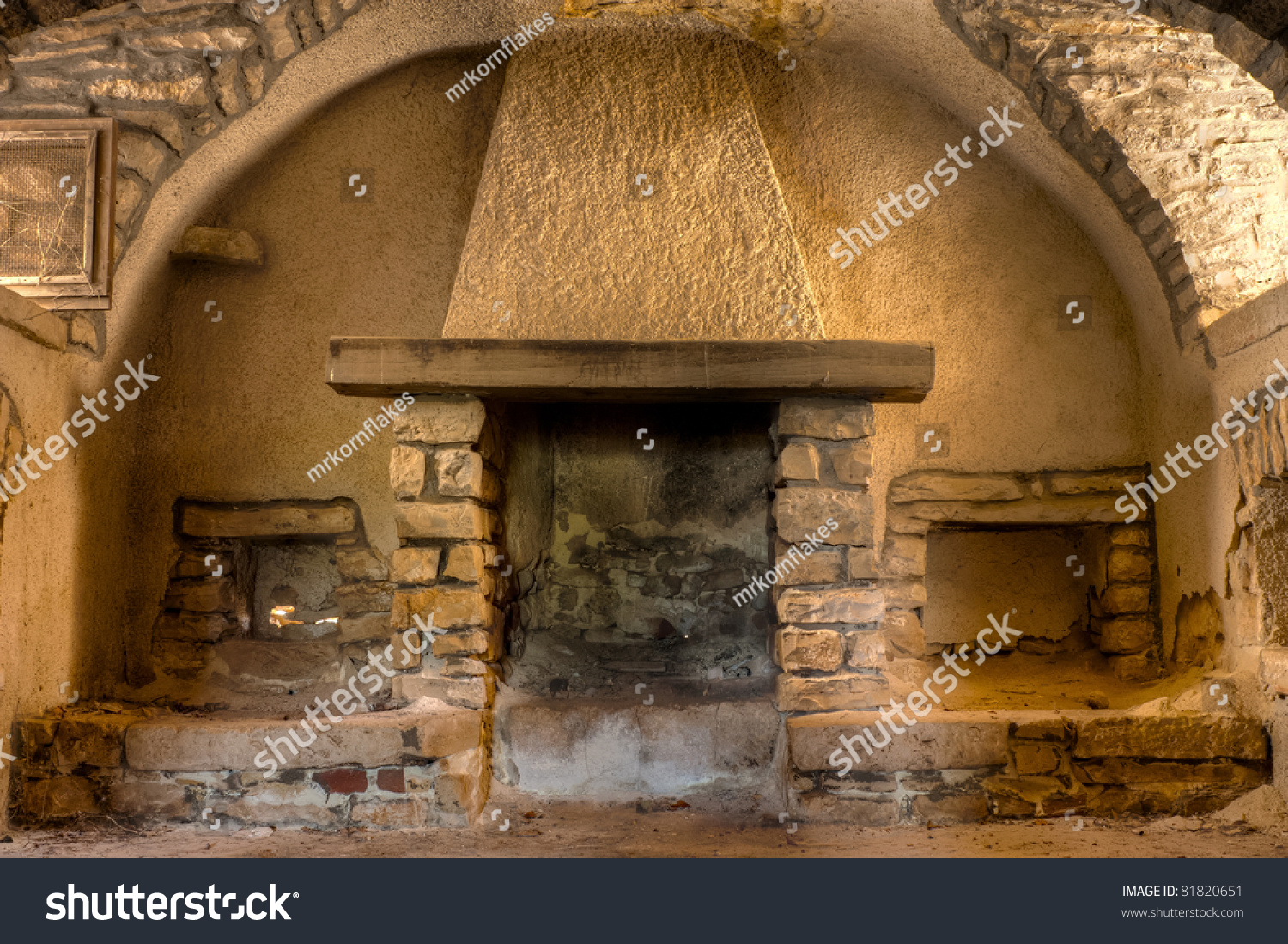 Old Farmhouse Fireplaces Old Fireplace Farmhouse Interior Apulia Italy Stock Photo