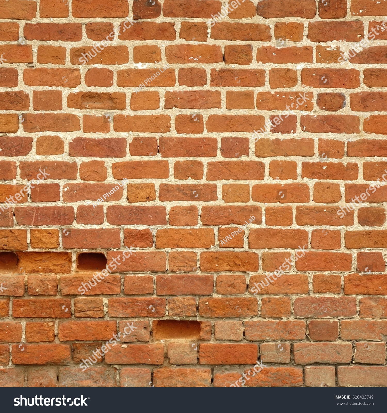 Distressed Brick Old Red Brick Wall Square Texture Stock Photo 520433749