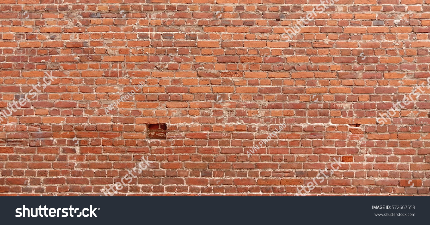 Distressed Brick Old Red Brick Wall Wide Texture Stock Photo 572667553