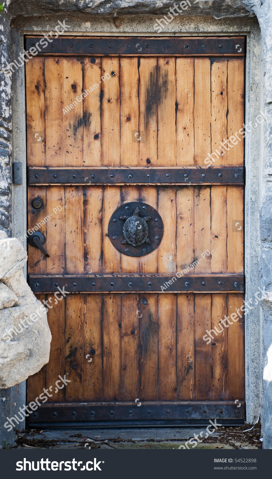 Turtle Door Knocker Old Reinforced Wood Door Turtle Door Stock Photo Edit Now