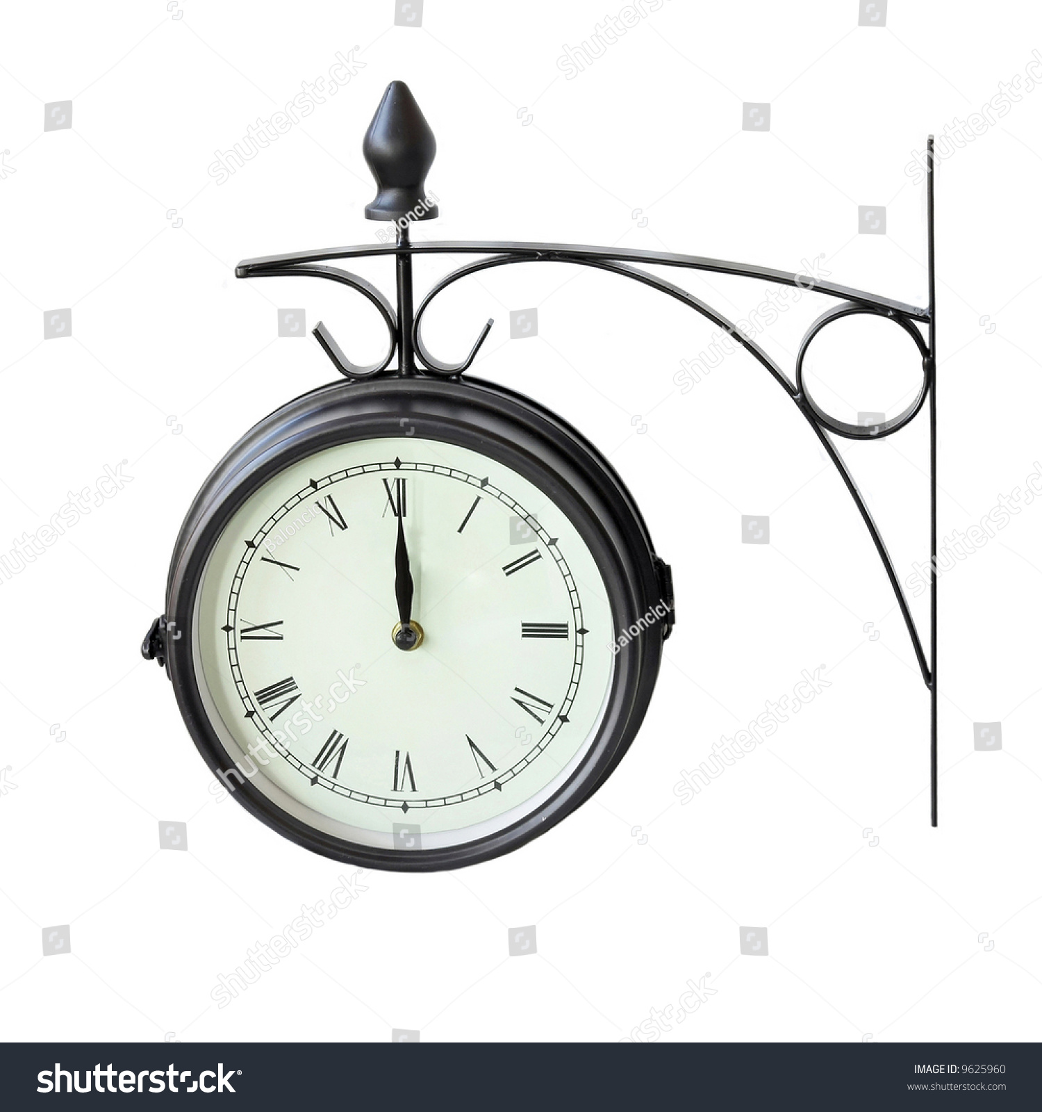 Stylish Digital Clock Old Style Analog Clock With Roman Numbers Stock Photo