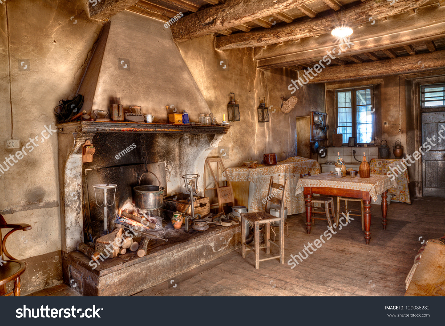 Old Farmhouse Fireplaces Old Times Farmhouse Interior Old Country Stock Photo