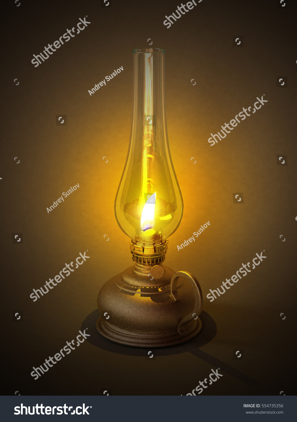 Diy Kerosene Lamp Old Vintage Oil Kerosene Lamp Isolated Stock Illustration