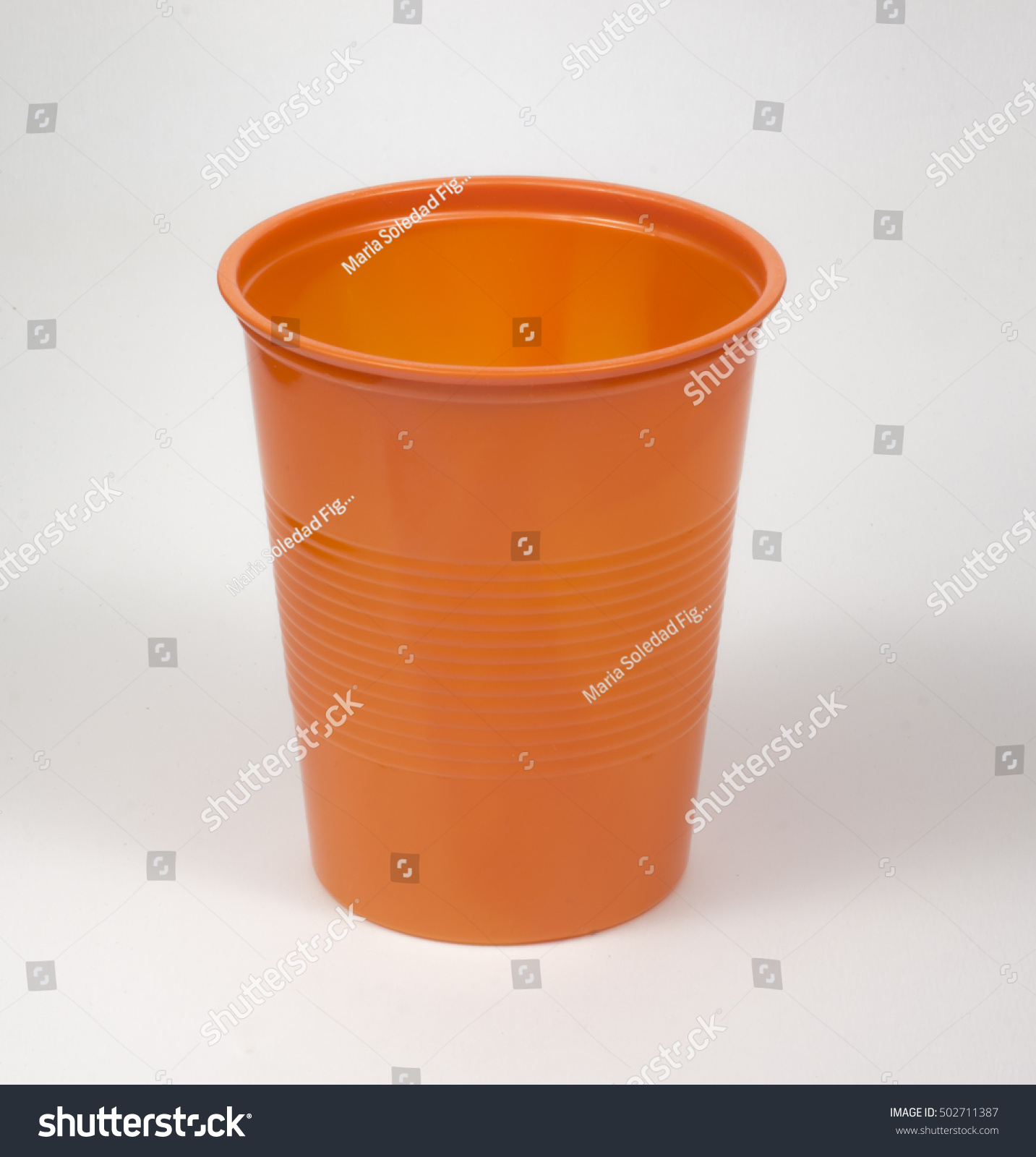 Marias Küche Catering Orange Plastic Disposable Cup Event Catering Stock Photo Edit Now