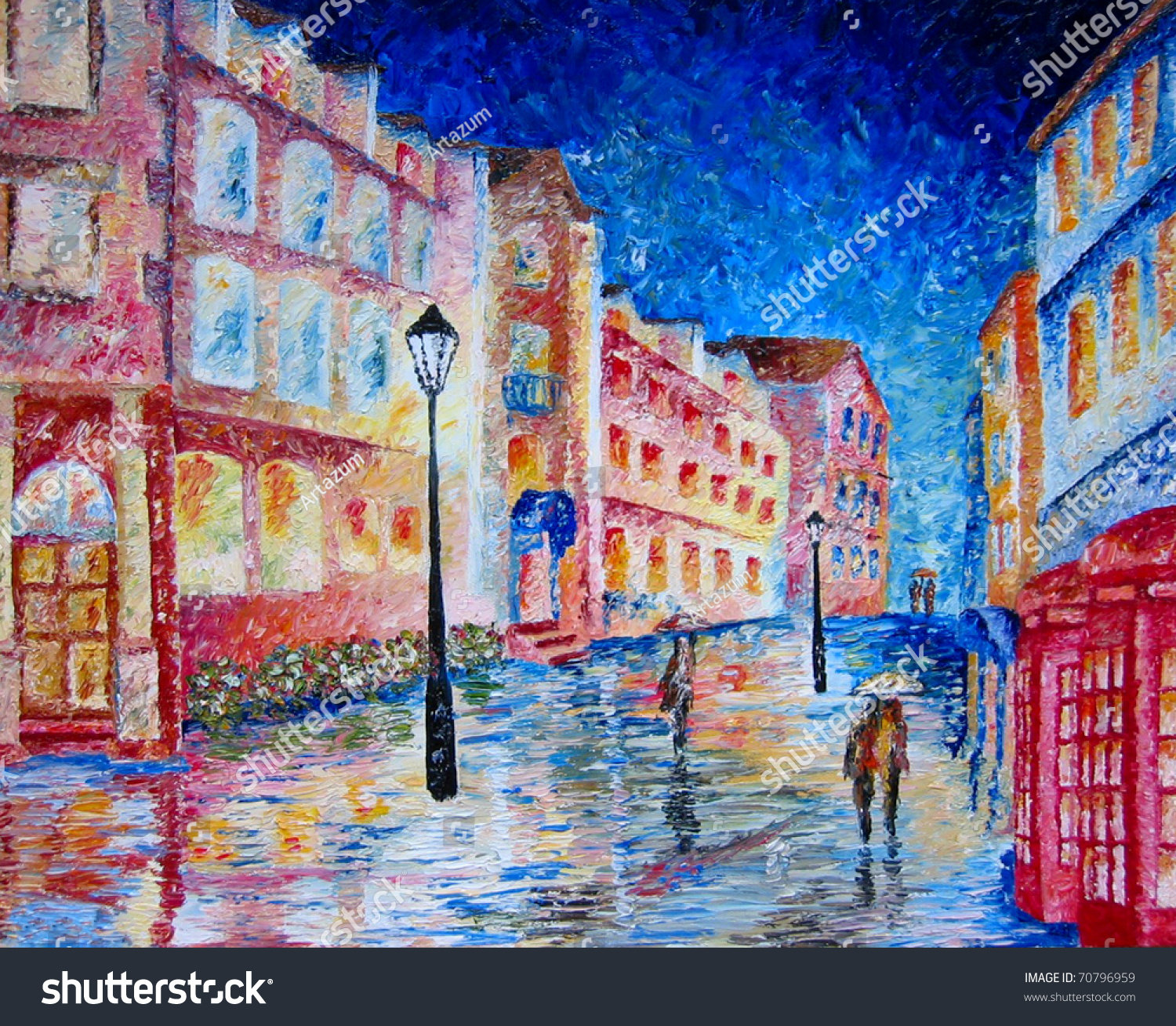 Street Light At Night Painting Painting Night City Street People Rain Stock Illustration
