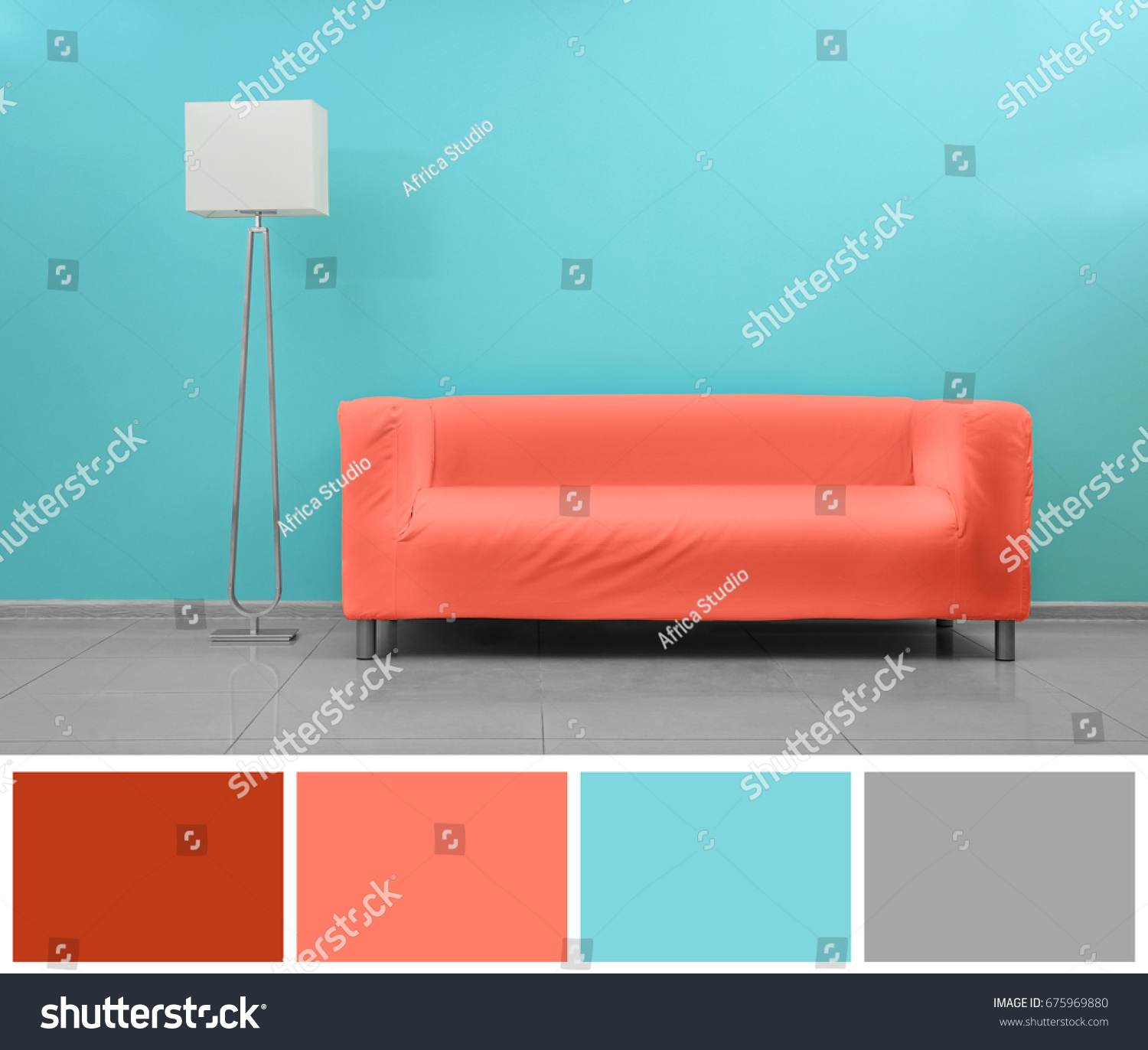 Sofa Palette Palette Salmon Color Modern Sofa Empty Stock Photo Edit Now