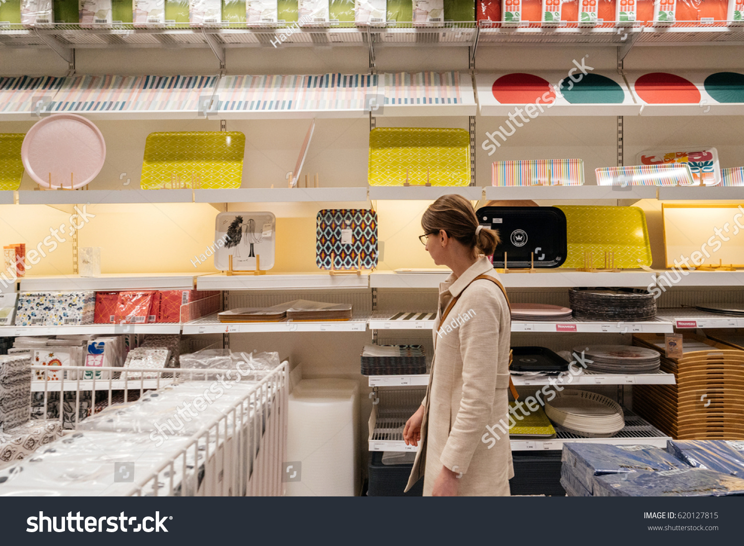 Catalogue Ikea Mulhouse Paris France Apr 10 2017 Woman Stock Photo Edit Now 620127815