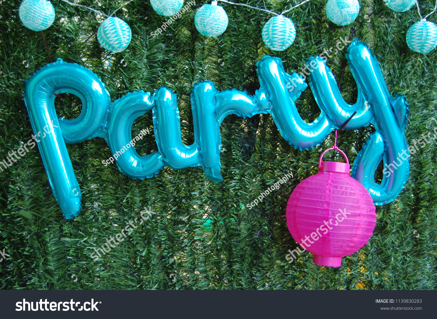 Party Written Pale Blue Balloons Hung Stock Photo Edit Now