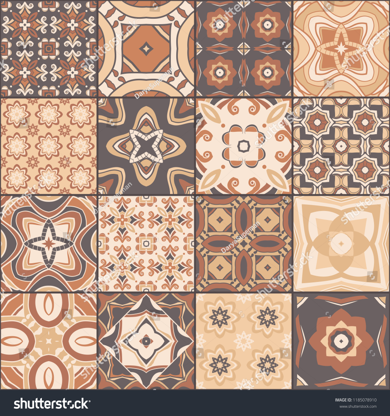 Azulejos De Colores Patchwork Seamless Pattern Portuguese Color Tiles Stock