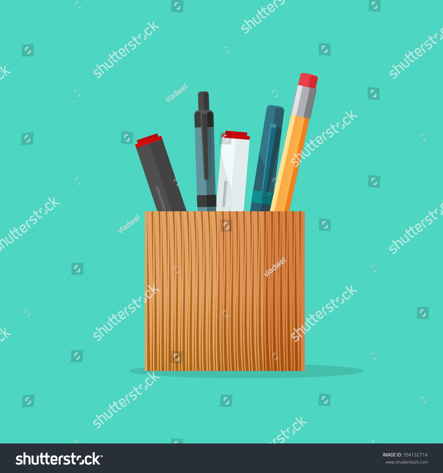 Pen And Holder Set Pencil Holder Pen Holder Wooden Pencil Stock Illustration