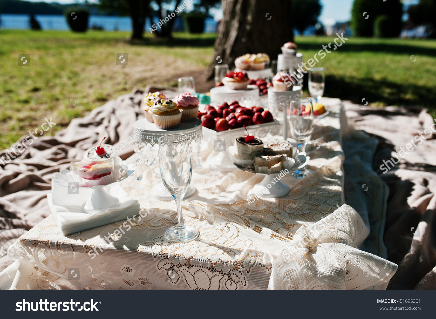 Picnic Decor Picnic Table Decor On Grass Macaroon Stock Photo Edit Now