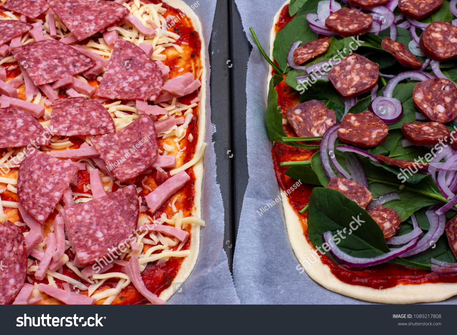 Pizza Messer Pizza Before Gets Cooked Stock Photo Edit Now 1089217808