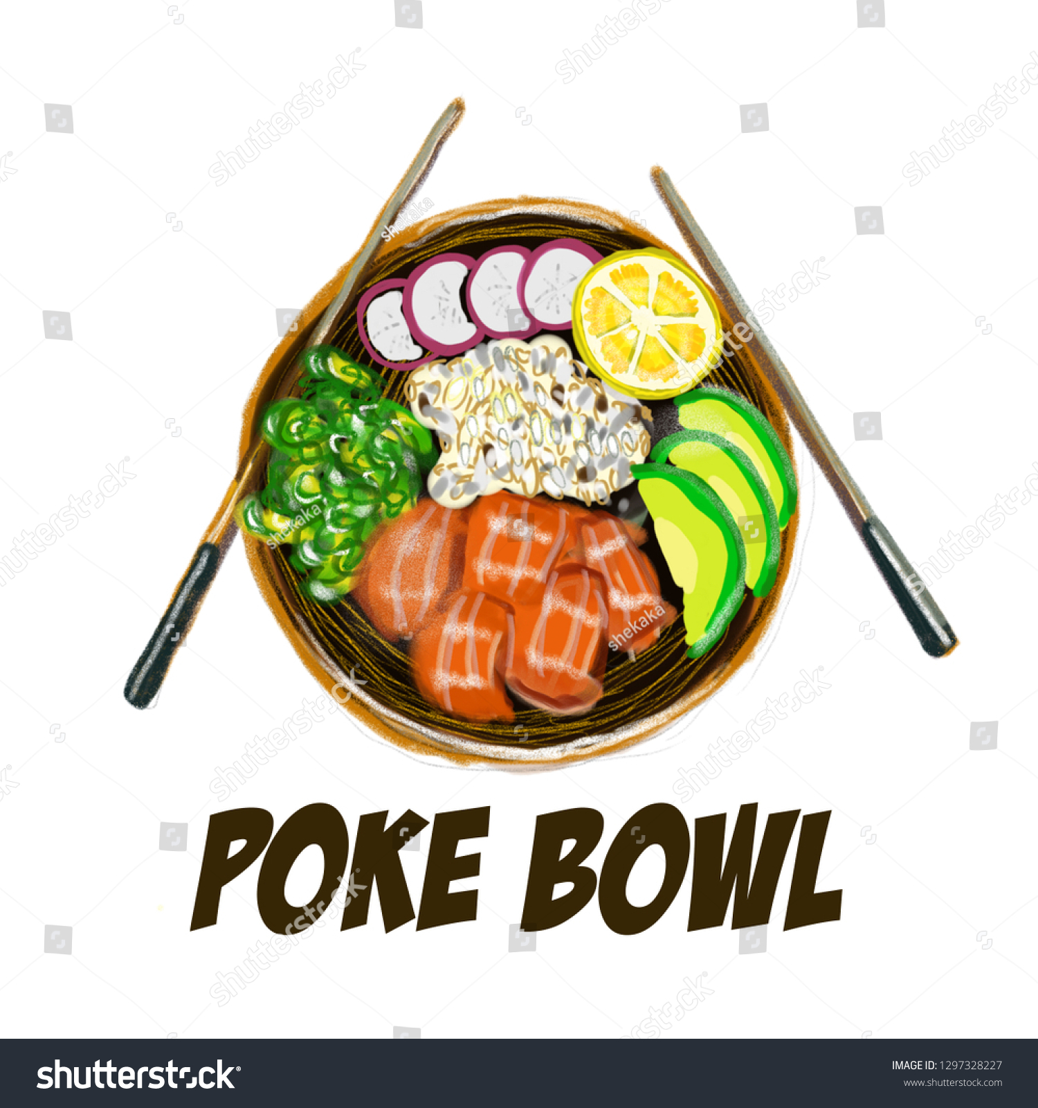 Element Cuisine Royalty Free Stock Illustration Of Poke Bowl Hawaiian Cuisine Food