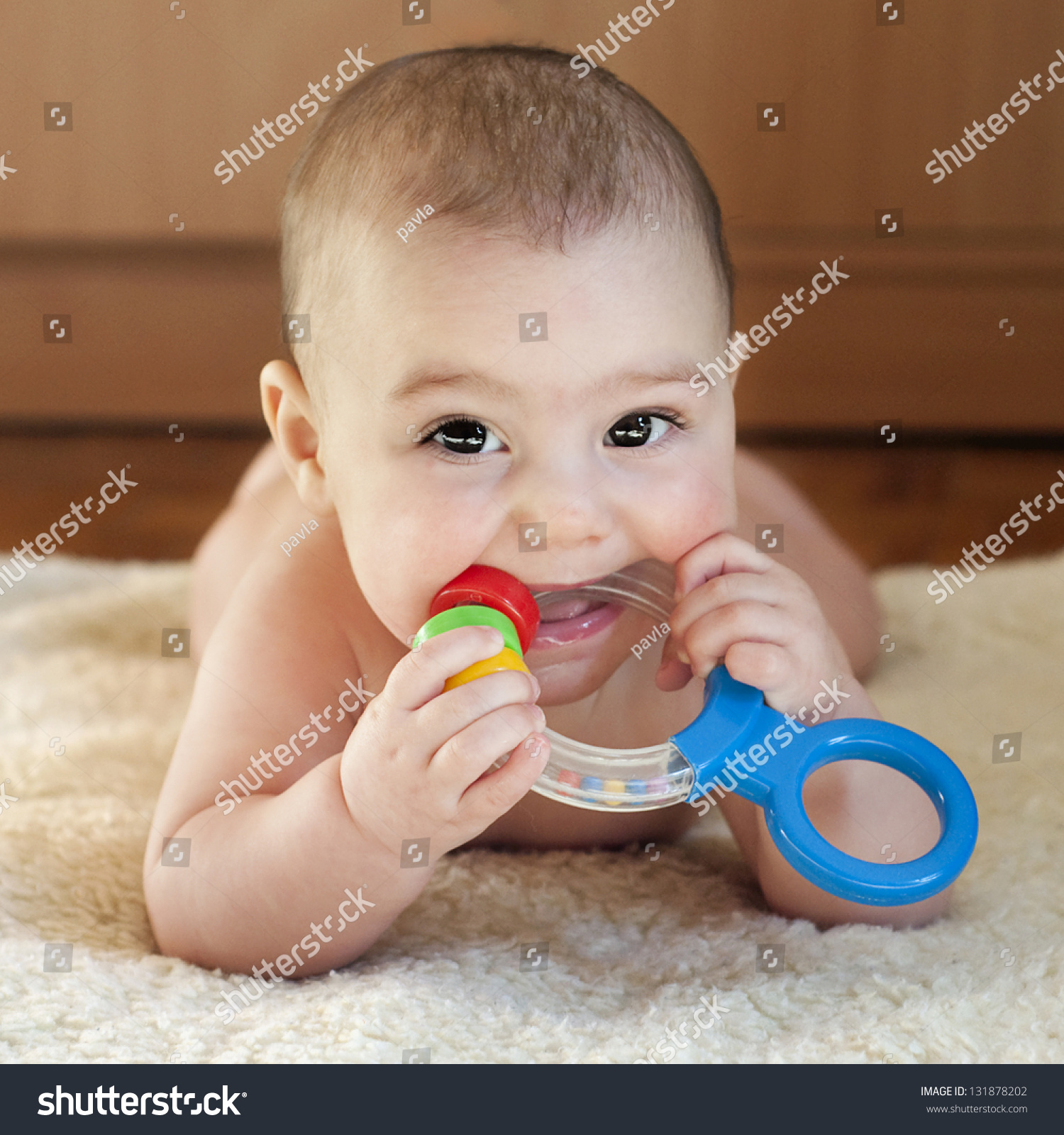 6 Month Old Baby Toys Portrait Cute 6 Month Old Baby Stock Photo 131878202