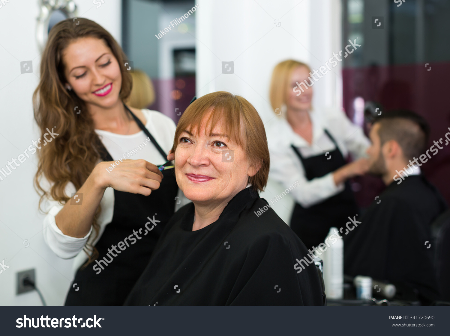 Salon Senior Portrait Senior Mature Female Hairdressing Salon Stock Photo