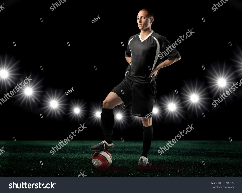 black soccer player winner stock photo