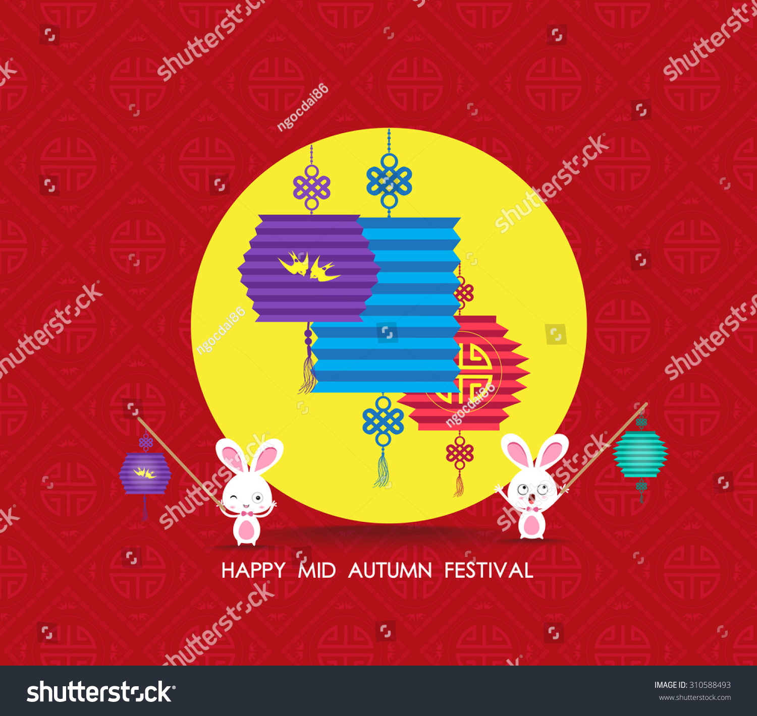 Happy Chinese Lantern Festival Printflat Chinese Lantern And Rabbit Happy Mid Autumn