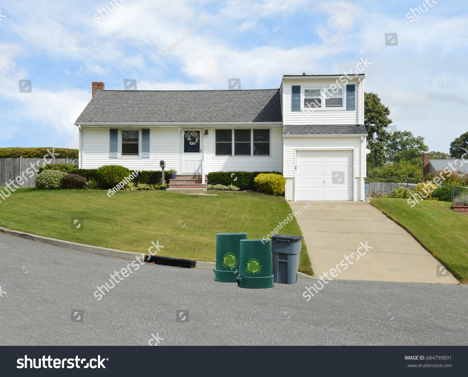 Garage Home Extension Recycle Trash Cans Suburban Bungalow Home Stock Photo Edit Now