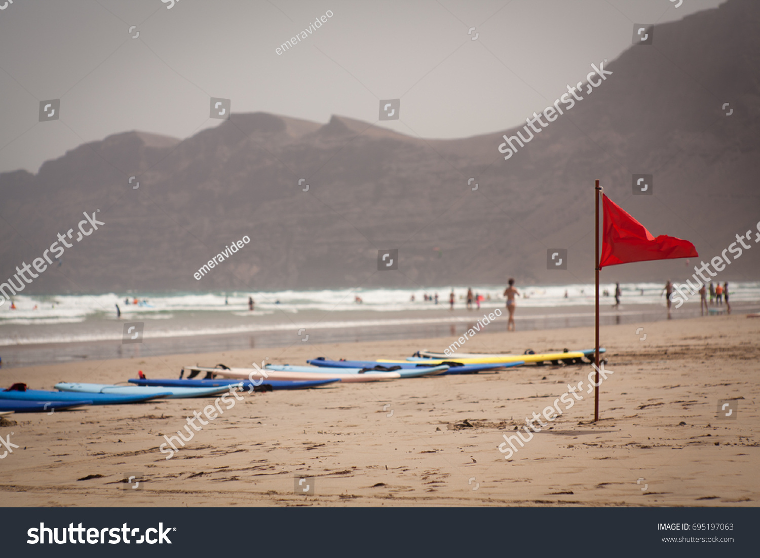 Flapon Red Flag Flap On Beach Surfboards Stock Photo Edit Now 695197063