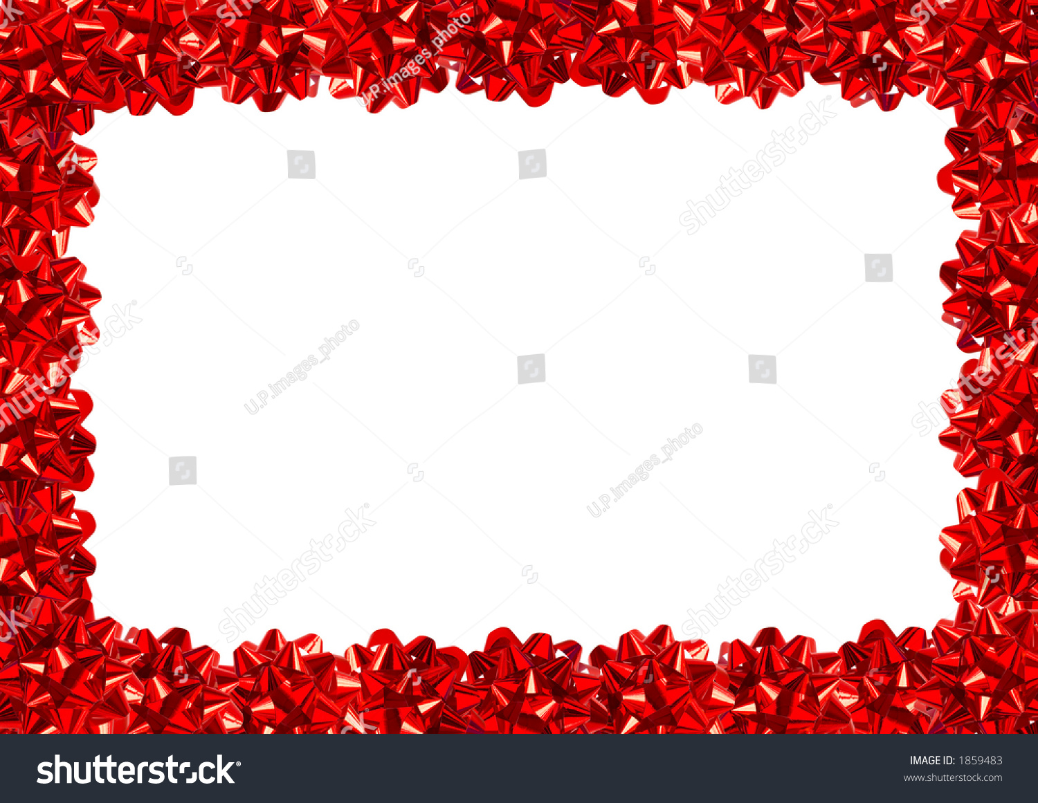 Red gift bows border with clipping path for easy background removing preview save to a lightbox