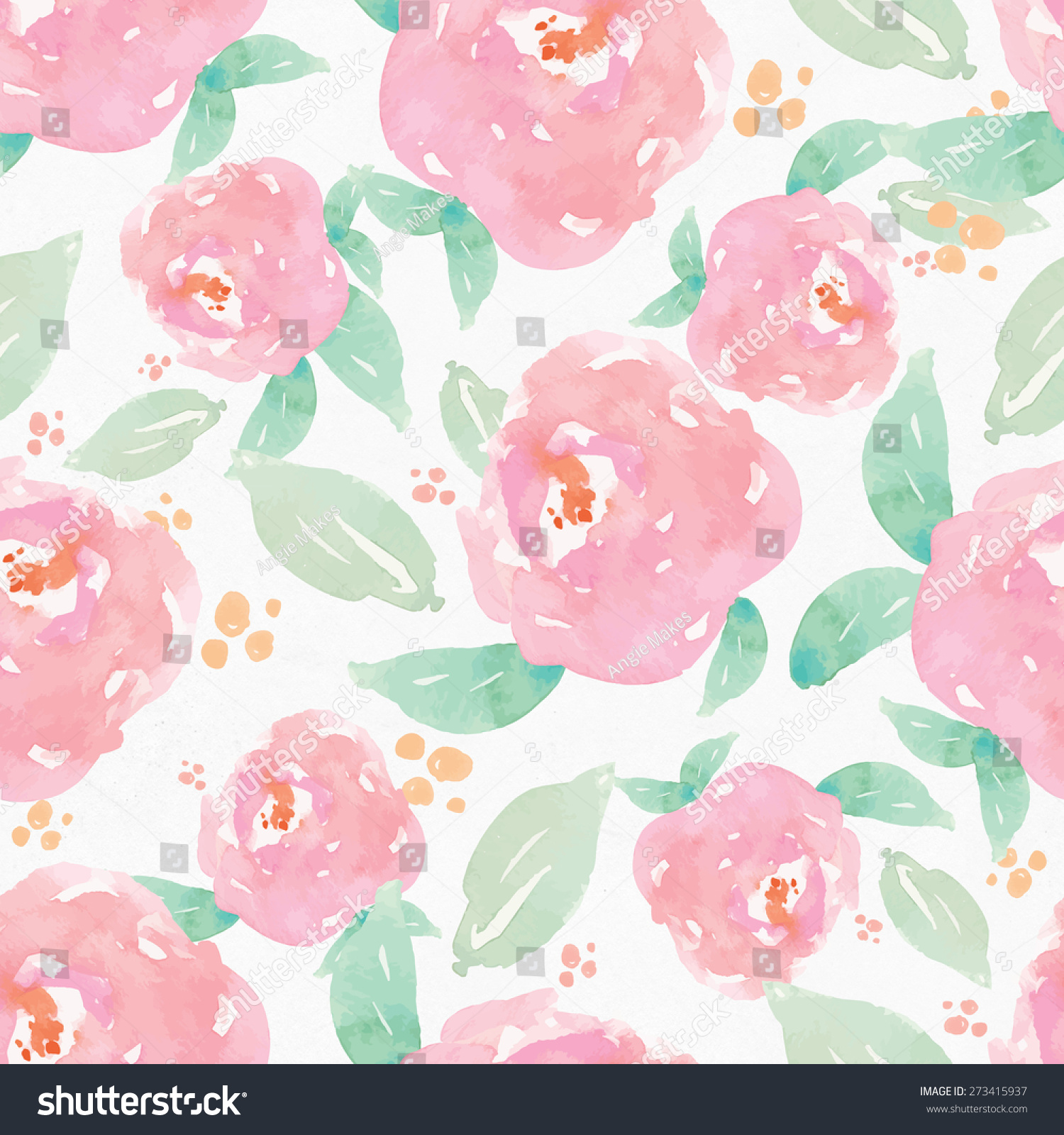 Orange Fall Peony Wallpaper Repeating Watercolor Flower Background Pattern Watercolour
