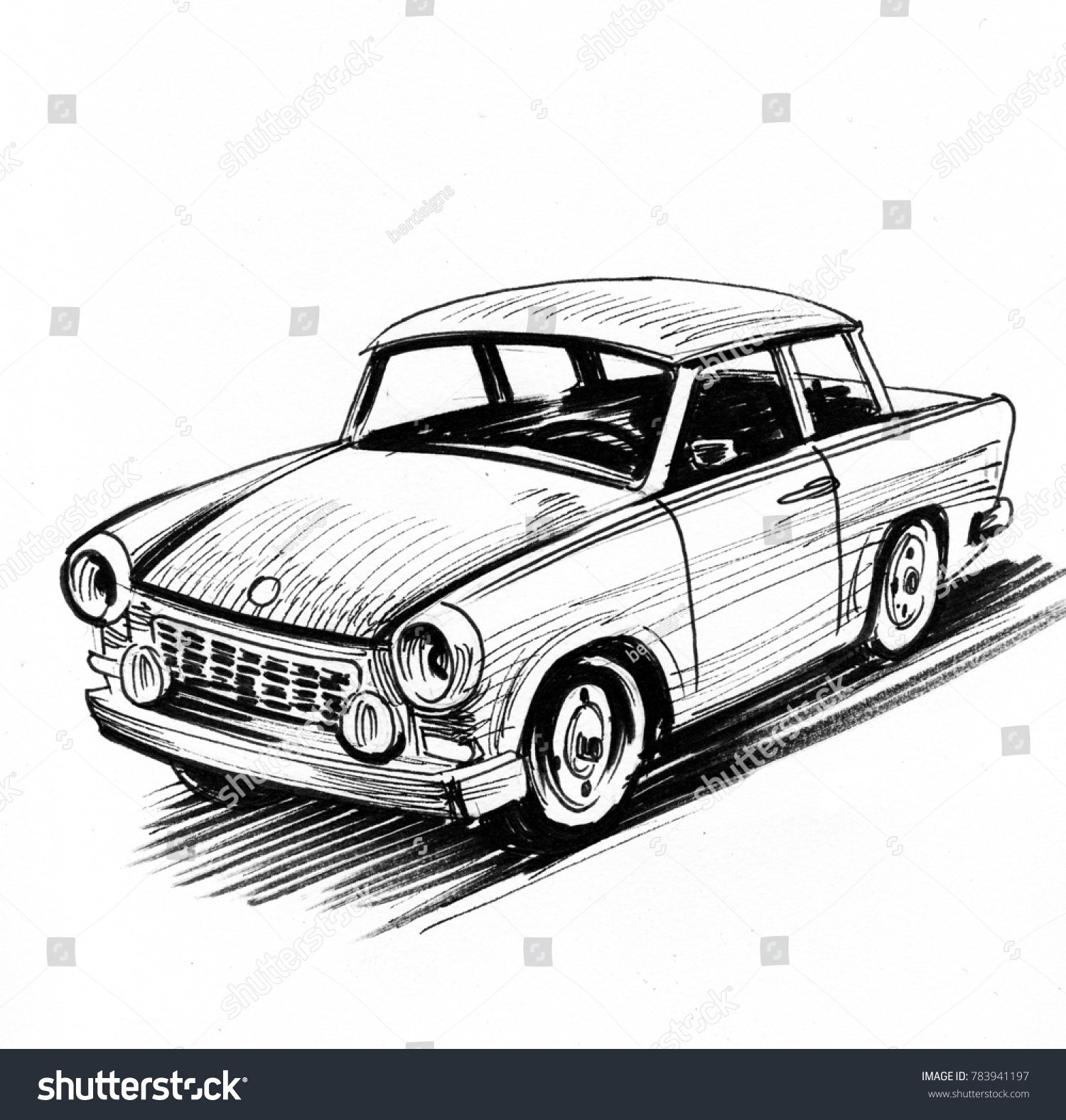 Trabant Clipart Royalty Free Stock Illustration Of Retro East German Car Black