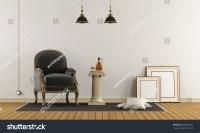 Retro Living Room Elegant Armchair Pedestal Stock ...