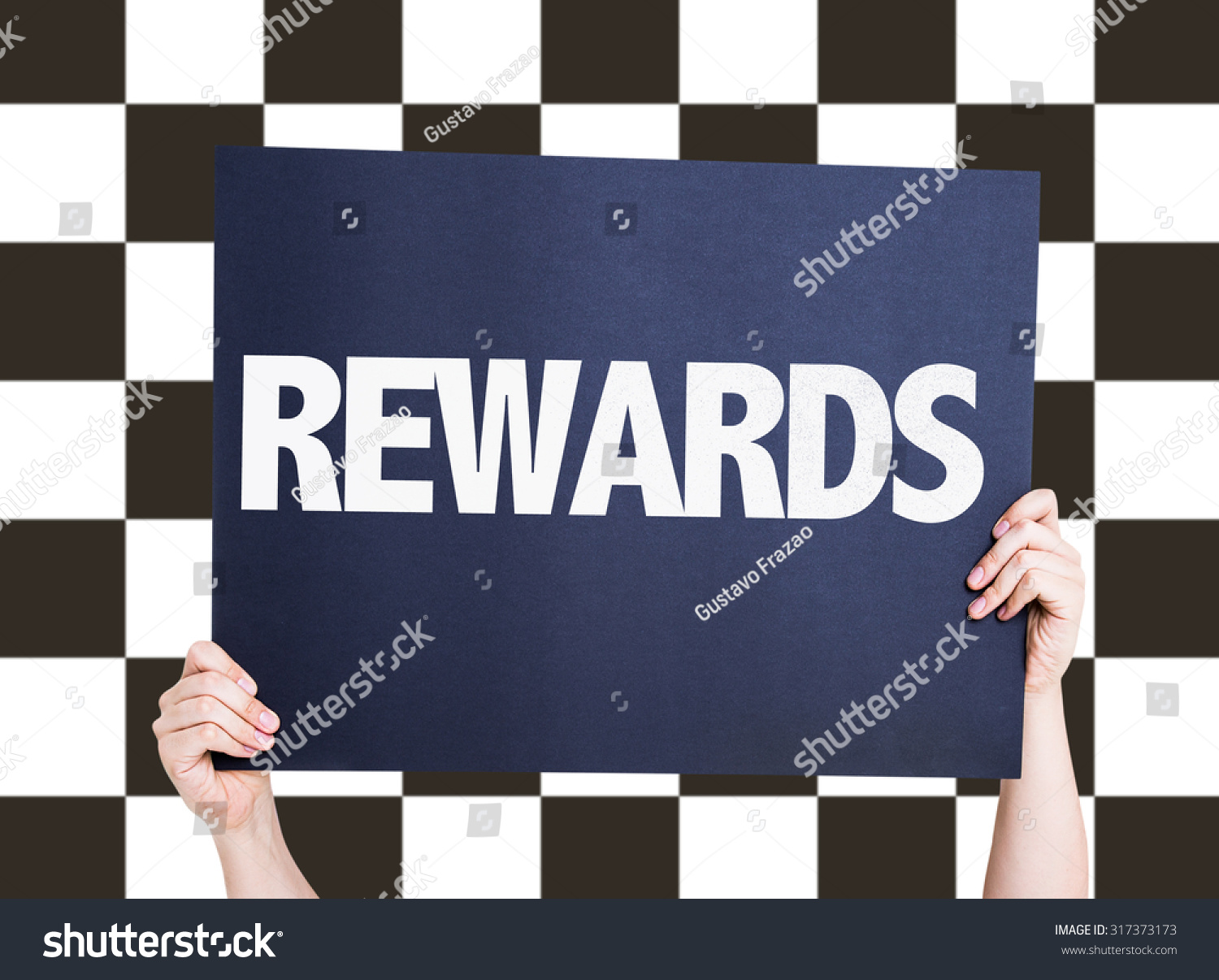 Placard Crossword Rewards Placard Checkered Flag On Background Stock Photo Edit Now