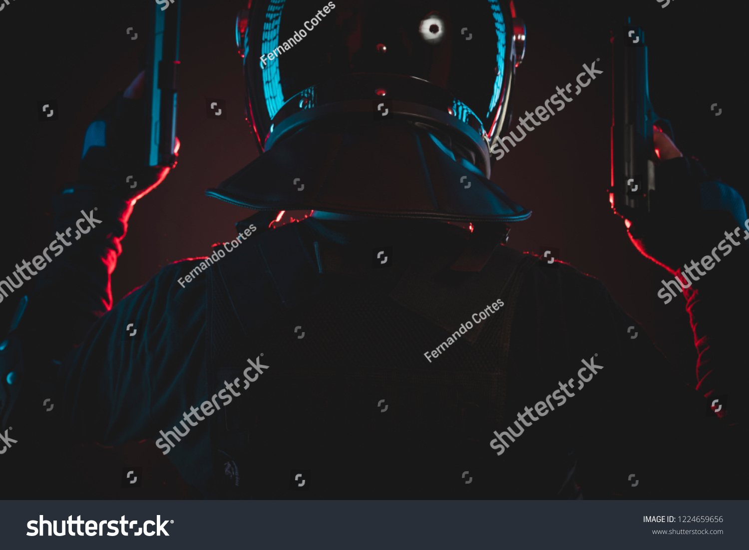Riot Police Red Hazard Lights Armed Stock Photo Edit Now 1224659656