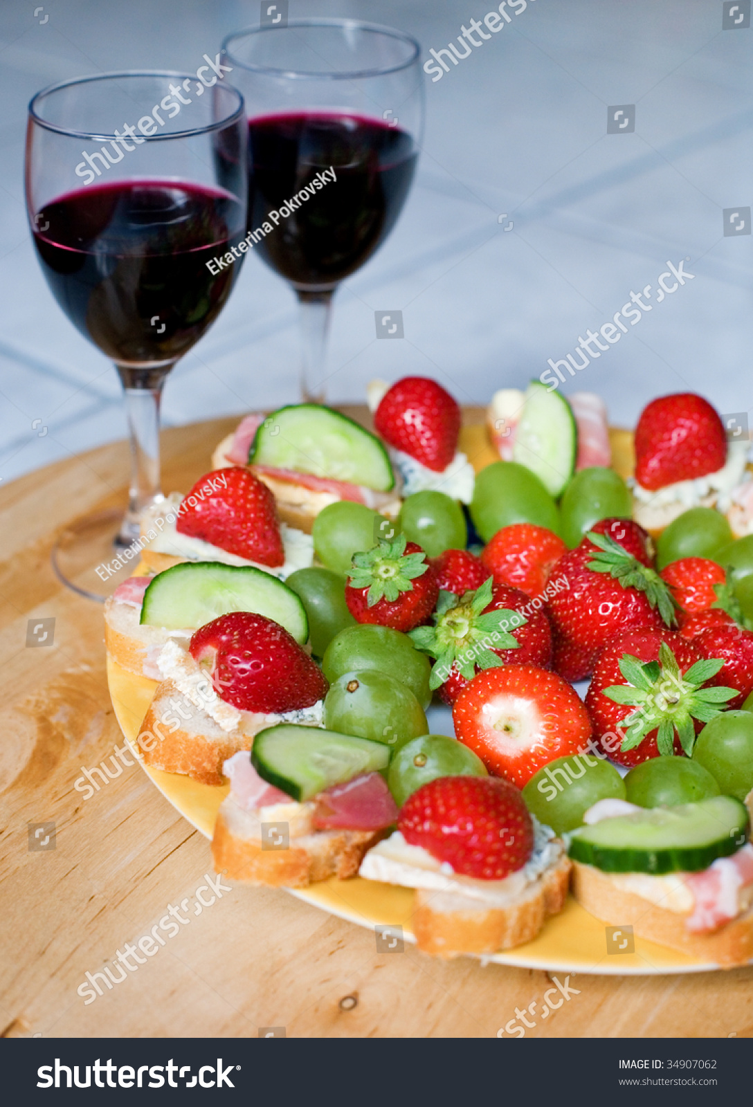 Romantische Hapjes Romantic Dinner For Two Red Wine Delicious Canapes And