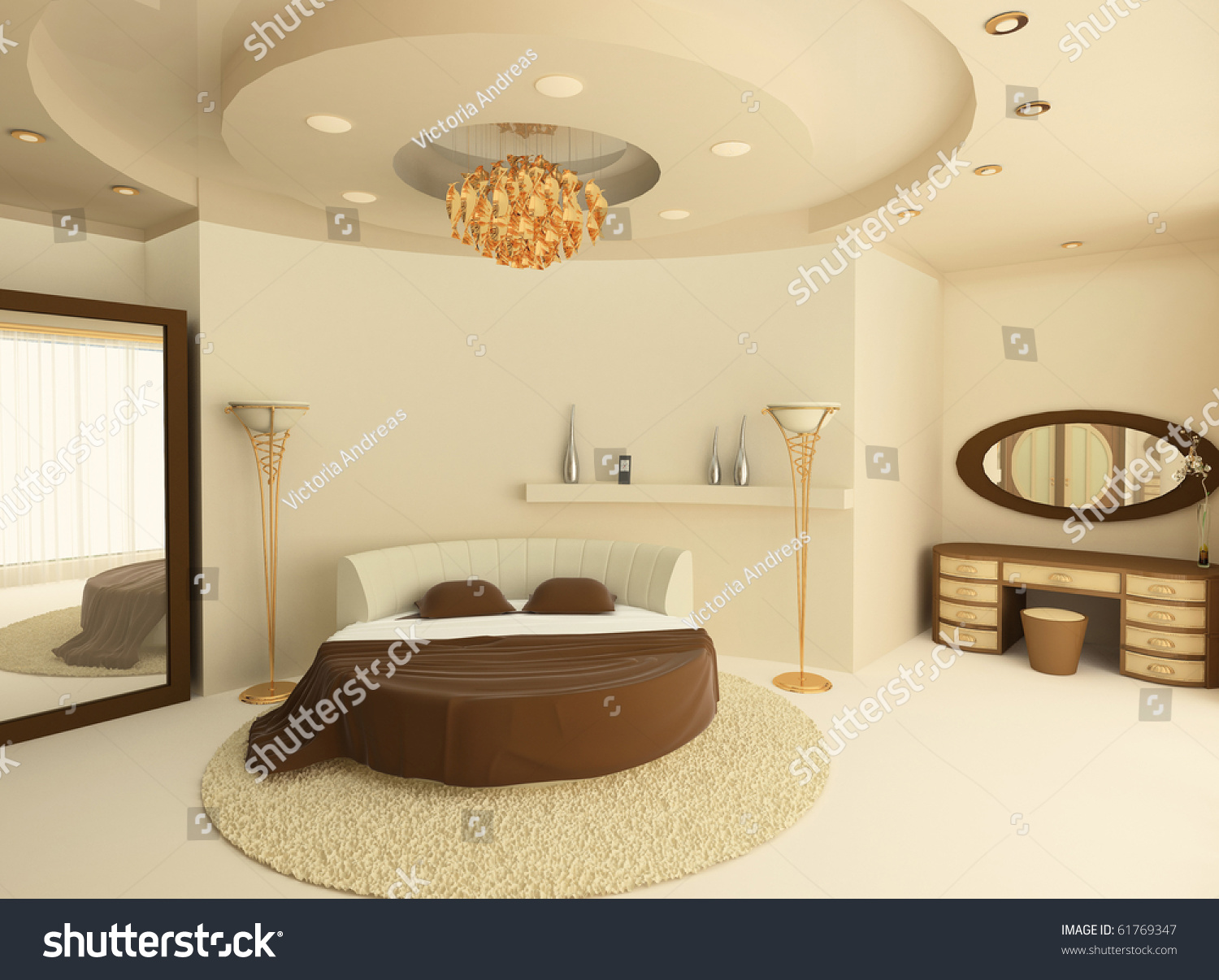 Bed Suspended From Ceiling Round Bed With A Suspended Ceiling In A Luxurious Bedroom