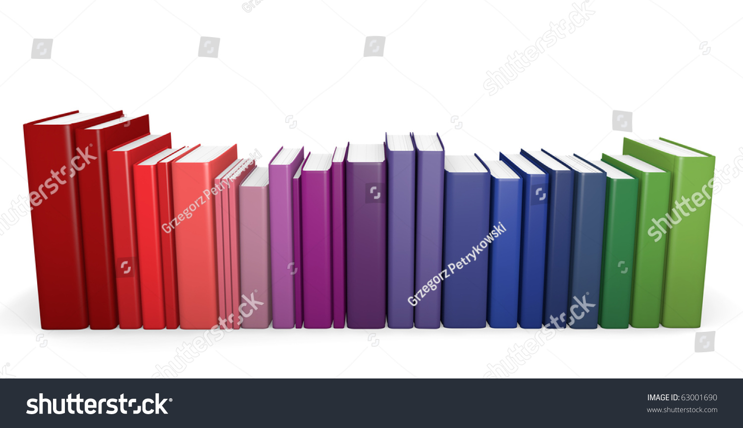 Row Of Books Vector Row Of Color Coordinated Books 3d Render Stock Photo