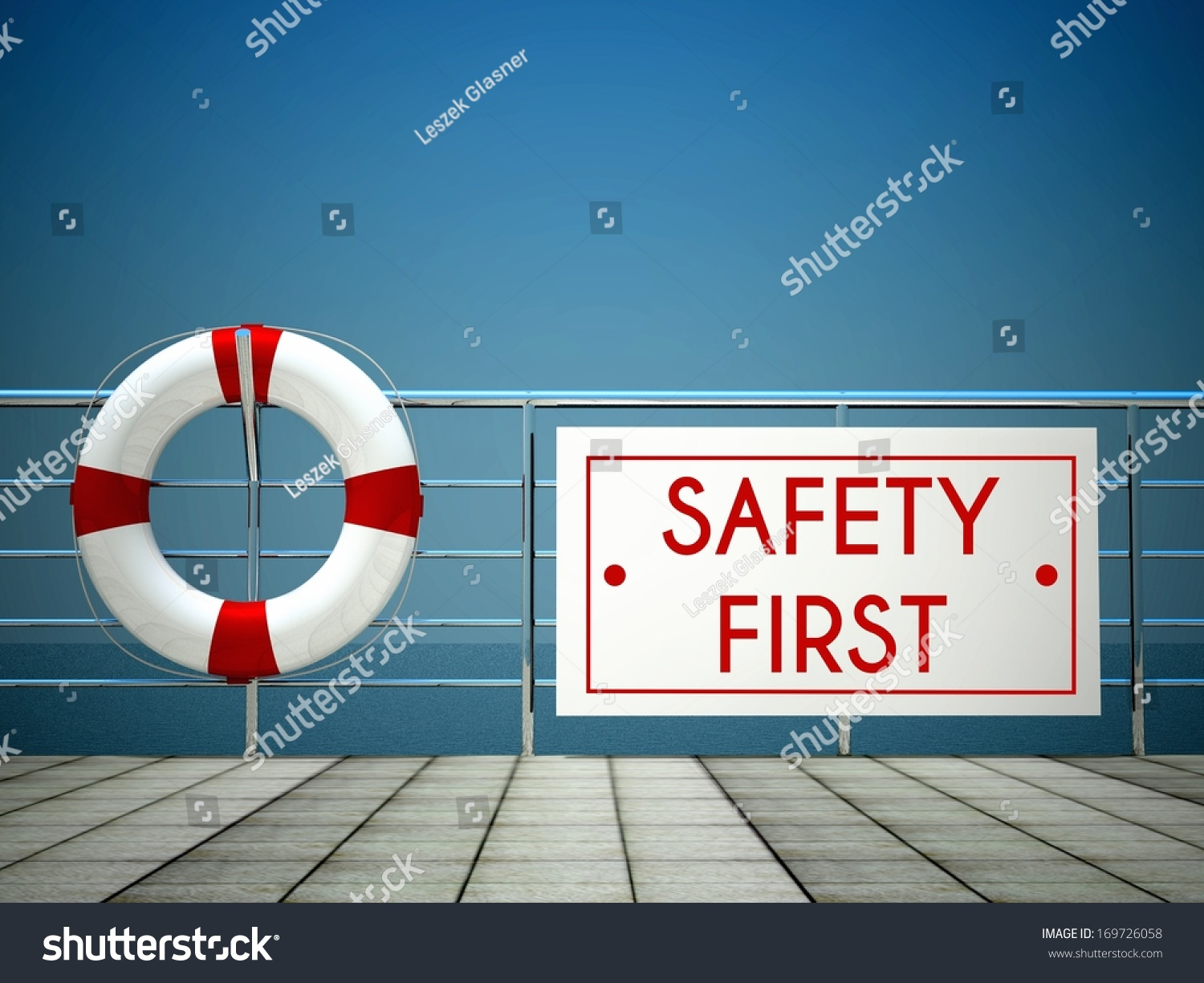 Glas Pool Safety First Sign Swimming Pool Lifebuoy Stock Illustration