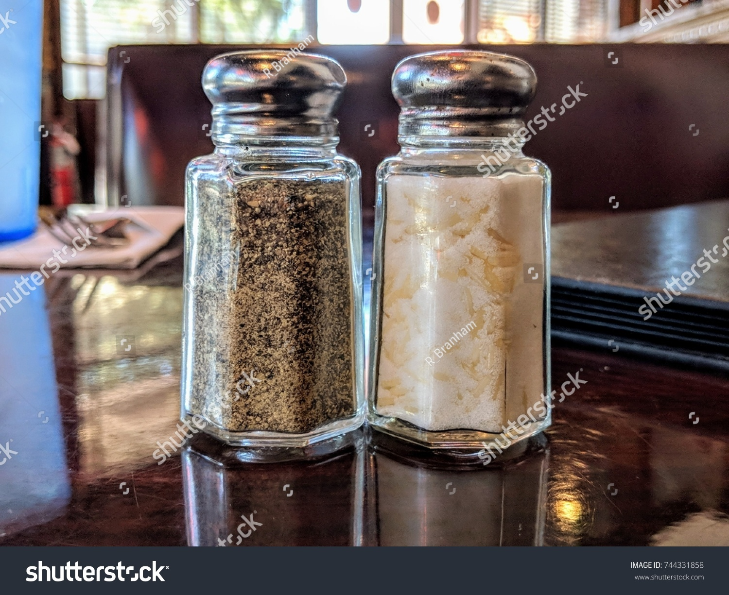Modern Salt Pepper Shakers Salt Pepper Shakers Modern Cafe Setting Stock Photo Edit Now