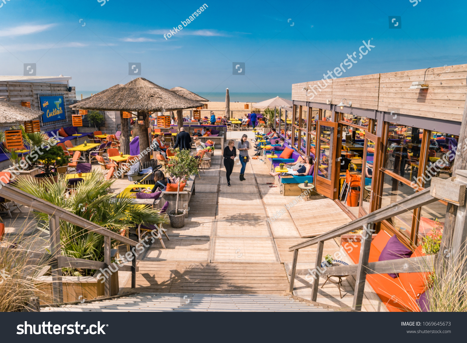 Scheveningen Beach Restaurants Scheveningen Netherlands April 2018 Sunny Spring Stock Photo Edit