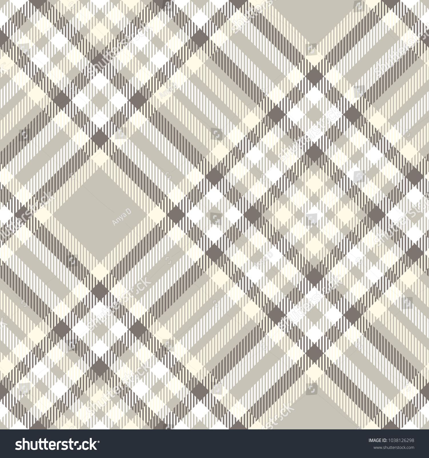 Plaid Taupe Seamless Plaid Check Pattern Taupe Grey Stock Illustration