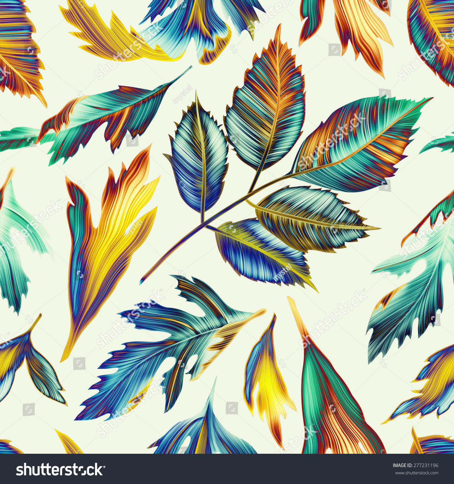 Seamless tropical flower plant leaf pattern stock