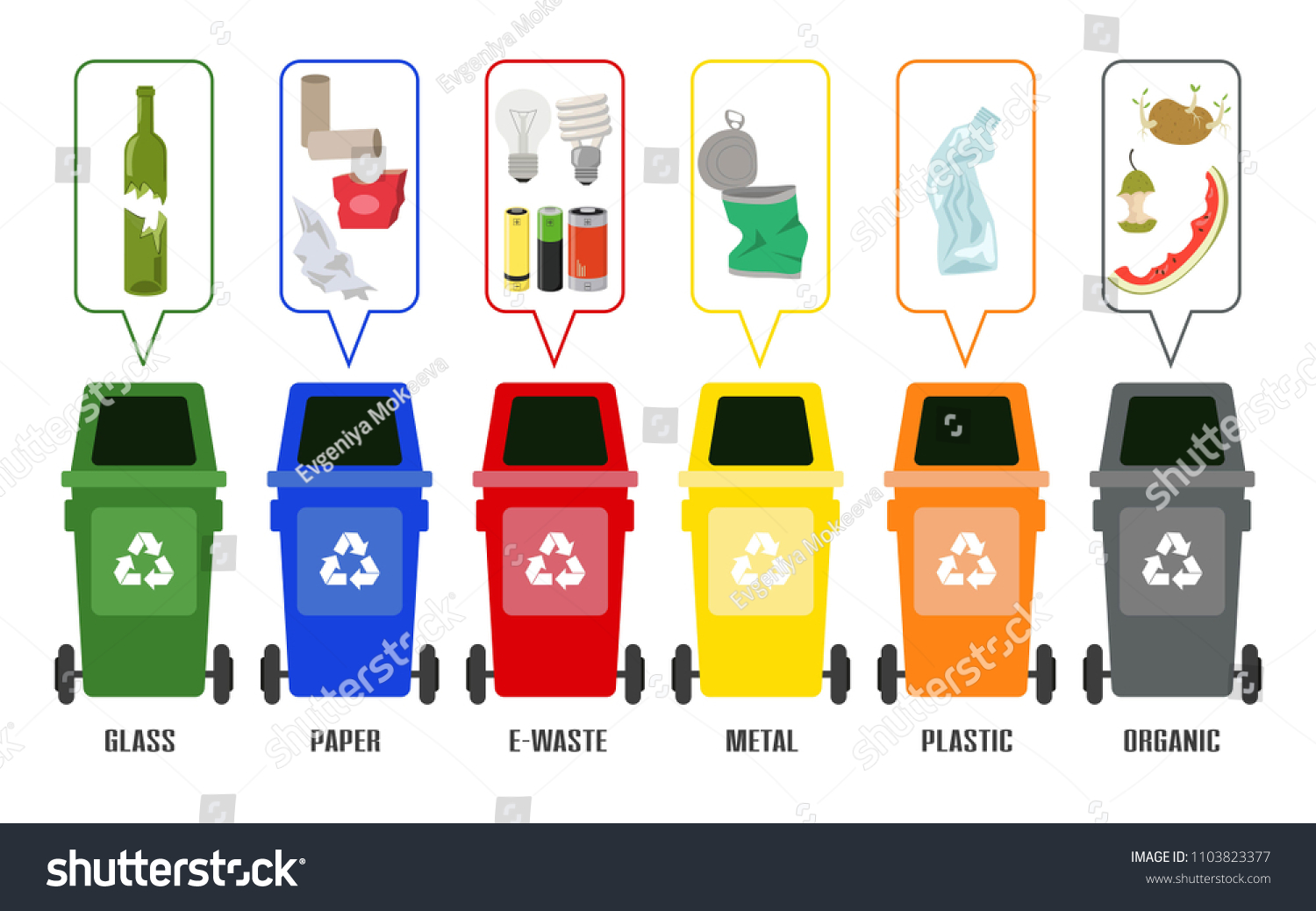 Colorful Garbage Cans Set Colorful Garbage Cans Sorted Garbage Stock Illustration