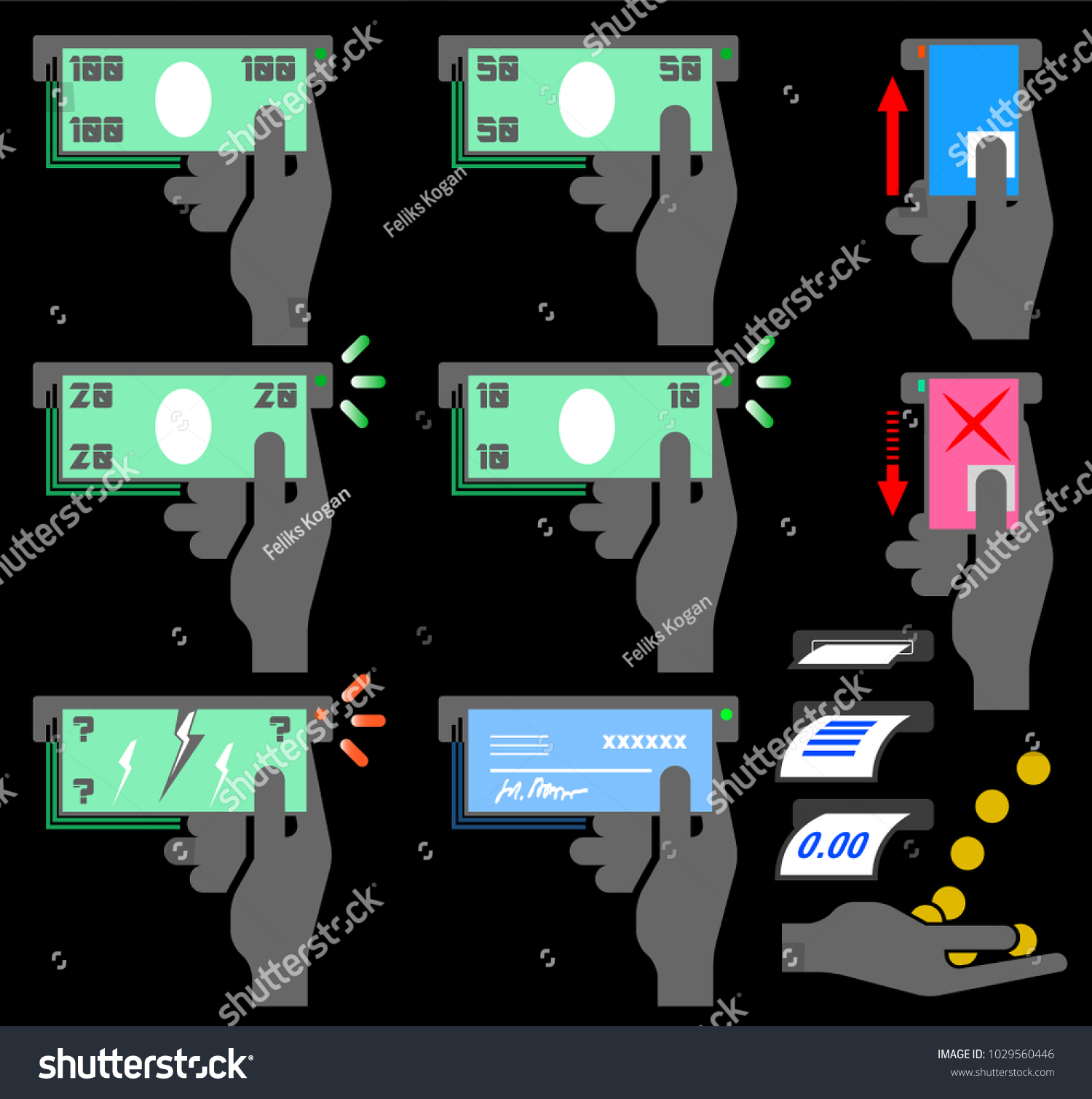 Essteller Set Set Icons Automated Teller Machine Atm Stock Illustration