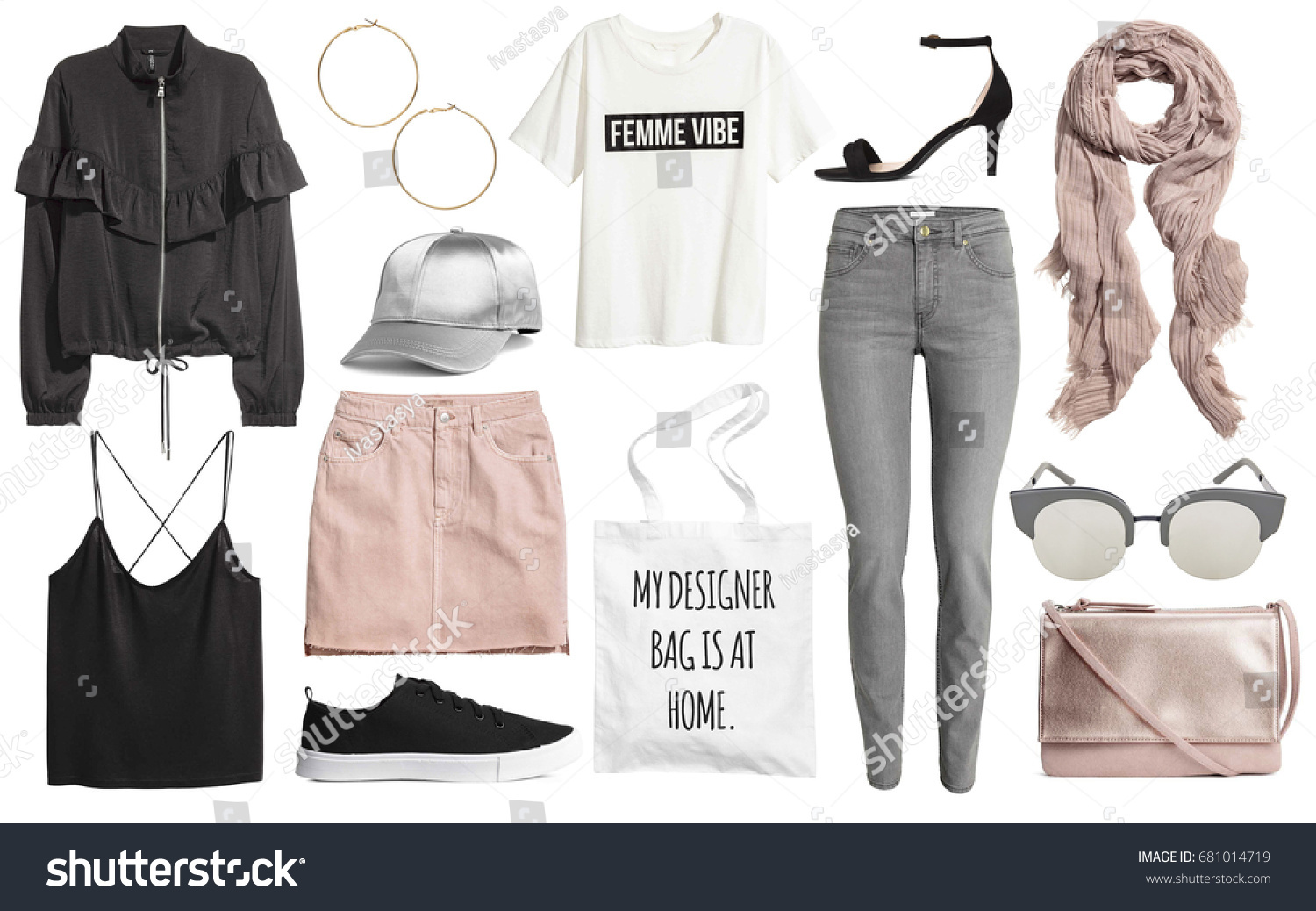 Stylish Clothes Set Stylish Clotheswoman Trendy Fashion Clothes Stock Photo Edit