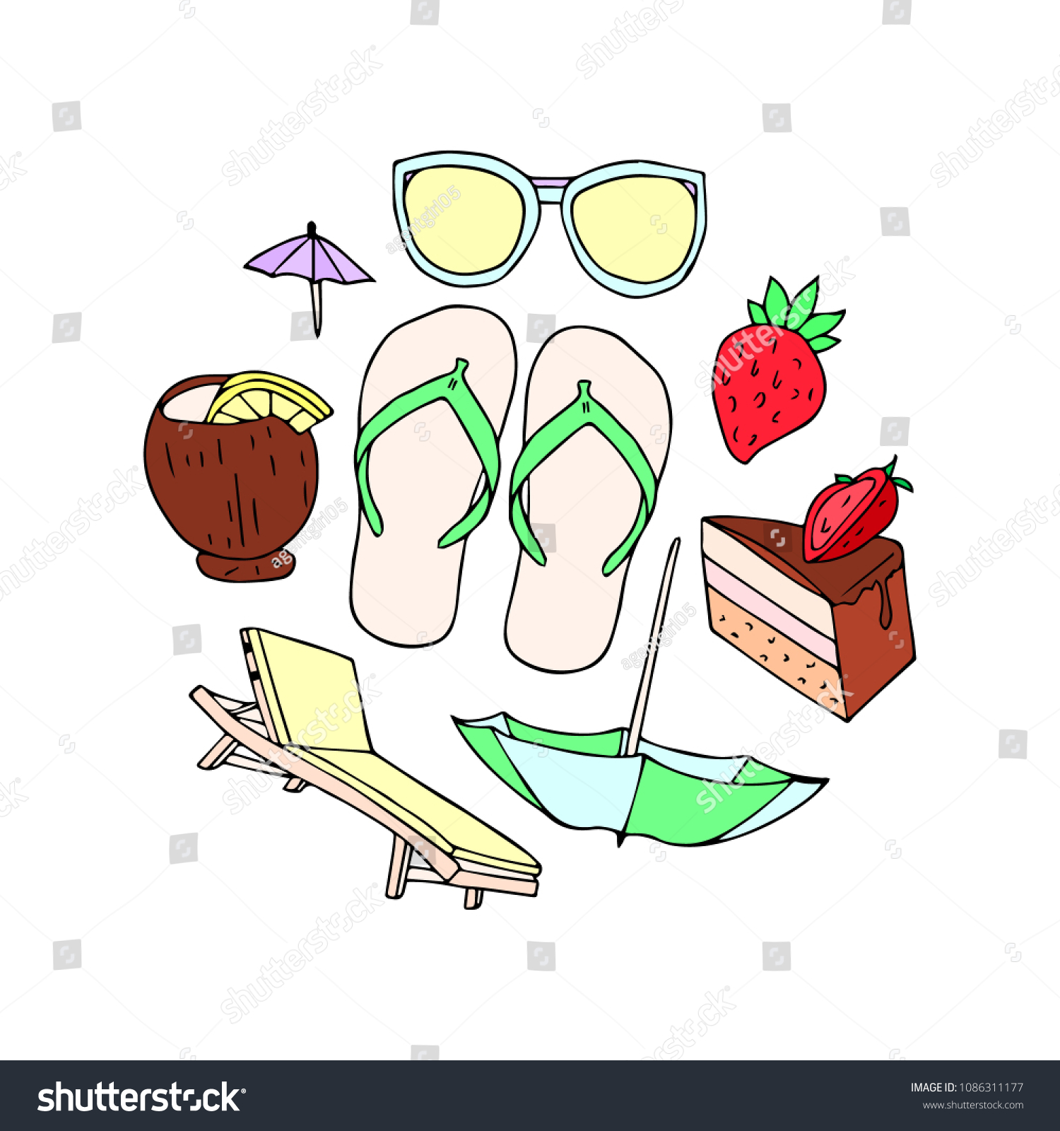 Chaise Cocktail Set Summer Illustration Strawberry Cake Chaise Stock Illustration
