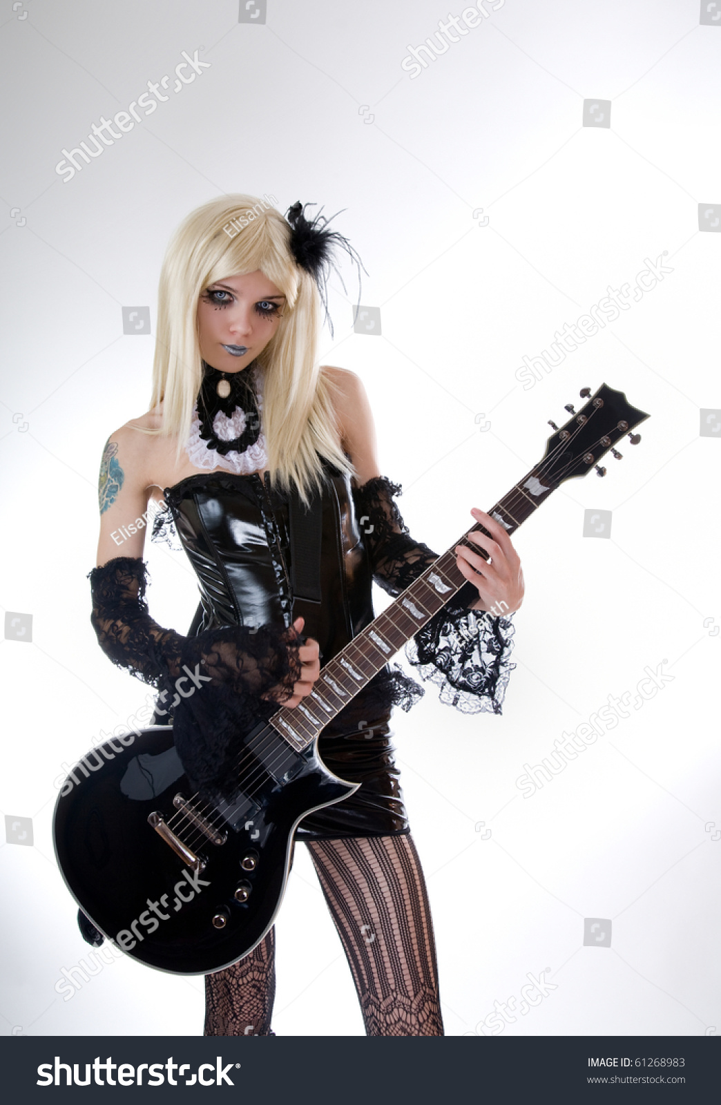 Beautiful Girl With Guitar Hd Wallpapers Sexy Gothic Girl With Guitar Studio Shot Over White