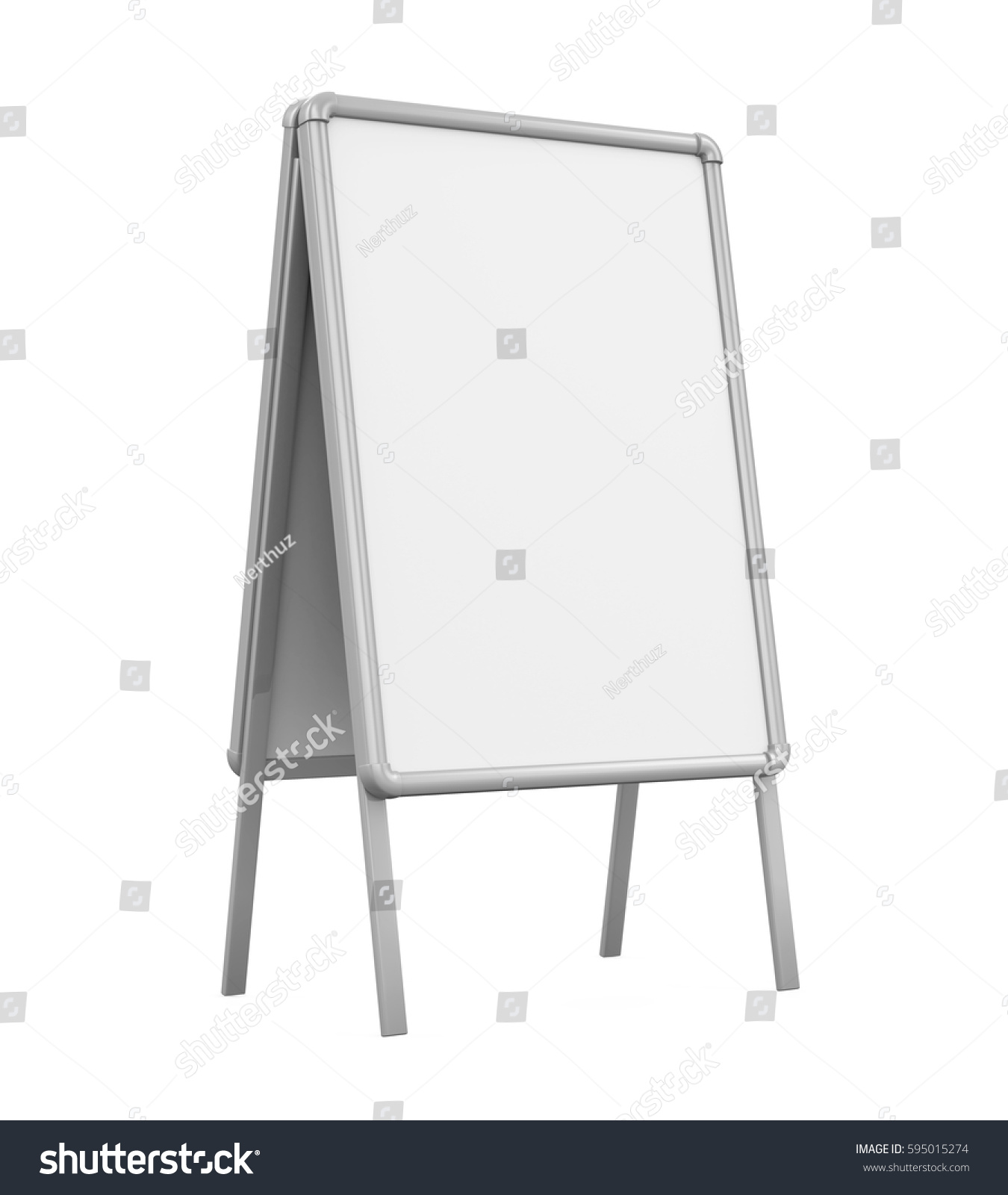 Whiteboard Ständer Sidewalk Blank Whiteboard 3 D Rendering Stock Illustration