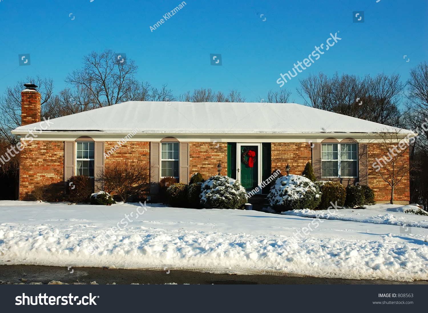 Brilliant House Single Story Brick American House Sitting Stock Photo Edit Now